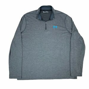 Under Armour Jacket Mens Extra Large Gray Blue 1/4 Zip Pullover Heatgear Loose