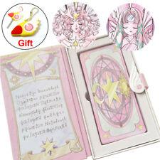 56pcs Anime Cardcaptor Sakura Clow Cards Captor Pink Clow Set Book Box with Gift