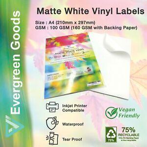 Sticker VINYL INKJET LASER A4 Printable Adhesive White Matt Waterproof Labels