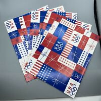 Lot of 5 Vintage Red White Blue USA Olympics 5 Rings Wrapping Paper Sheets 30x20