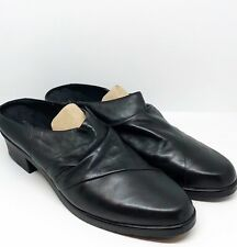 Walking Cradles Women's Size 11 Black Leather Cato Softee Mules Slides Shoes