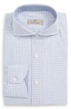 New Men's Canali Regular Fit Check Dress Shirt, Size 17 - Blue