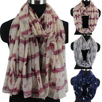 Fashion Women Musical Note Cat Animal Print Lady Long Scarf Shawl Infinity Scarf