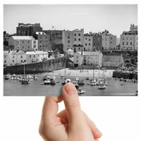 "Photograph 6x4"" BW - Tenby Harbour Wales UK Travel Boats  #43628"