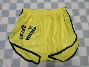 Short MD SPORTS n°17 nylon polyamide années 80 jaune made in France 95
