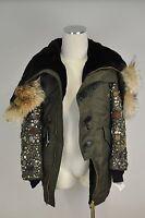 NWT $10,000 DSQUARED2 Khaki Green Parka Coat W/ Fur And Embellishments 46/S US