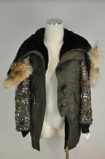 NWT $10,000 DSQUARED2 Khaki Green Parka Coat W/ Fur And Embellishments 46/S US