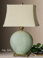 NEW PITTED GREEN GLAZED CERAMIC TABLE LAMP BRONZE METAL ACCENTS MODERN LIGHT