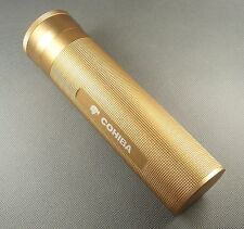 Fine Golden Metal COHIBA Travel Cigar Tube Jar Humidor Hygrometer Humidifier