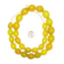 Yellow Tomato Beads 19x16mm Ethiopia African Oval Glass 24-26 Inch Strand