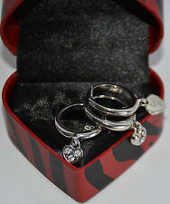 NWT Guess Silver-tone Metal-Rhinestones Heart RIng Set/3, Size 7