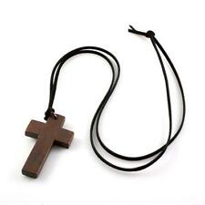 Unisex Wooden Jewellery Wood Cross Pendant Sweater Decor Christian Necklace Gift