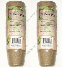"""48 Biodegradable Round Peat Pots 2.36"""" x 2.25"""" Seed Starters Garden Planters"""