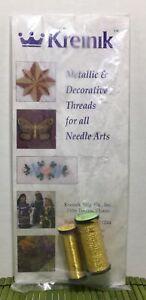 "Kreinik Metallic & Decorative Thread Gold 002J 1/8"" Ribbon & Japan Threads 2Pack"