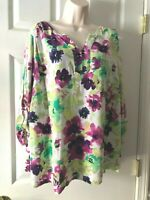 Women's Blouse Croft & Barrow White, Floral, V-Neck, 3/4 Sleeve, Shirt Top - 3X