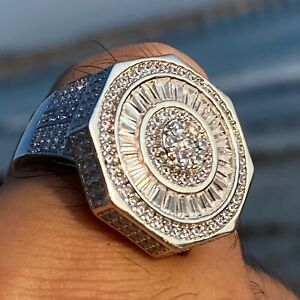 Mens 925 Sterling Silver Octagon Big Hip Hop Ring Round Iced Bling CZ Baguettes