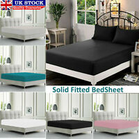Extra Deep Fitted Sheet Single Double Super King Cotton Mattress Bed Sheets