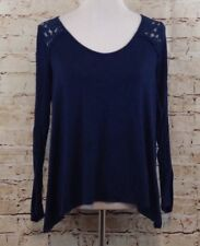 Abercrombie shirt lace shoulder back strap womens small long sleeve navy v-neck