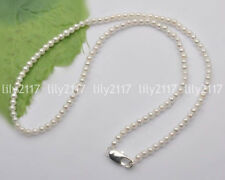 Beautiful Natural 6-7mm White Akoya Pearl chains Beads Necklace 18'' AA