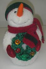 Hallmark Plush Stuffed Snowman with Lighted Wreath