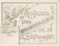 UNBEKANNT (19. Jhd.), Entwurfzeichnung Einladungskarte, 1883, Bleistiftzeichnung