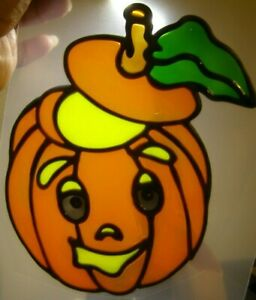 (2) Halloween Pumpkins Jack O Lantern Stained Glass Window Clings Suncatcher