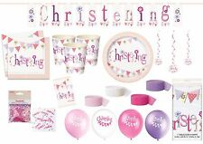 CHRISTENING PINK Tableware & Decorations Plates Cups Tablecover Napkins Balloons