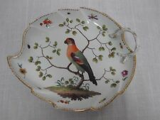 """Antique Meissen 10"""" Handled Leaf Shape Shallow Bowl w Bird On Branch & Insects"""