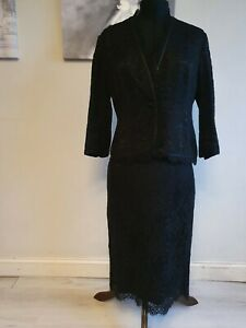 Beautiful Black Lace Jaeger Skirt Suit Size 14