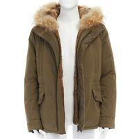 YVES SALOMON HOMME brown rabbit fur lined hooded padded green parka coat L