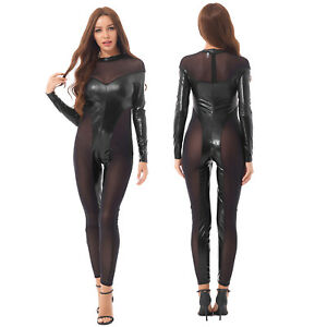 Women Sexy Long Sleeve Mesh See Through Patent Leather Bodycon Jumpsuit Clubwear