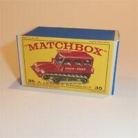 Matchbox Lesney 35 b Snow Trac Tractor Repro E style Empty Box