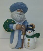 Vintage Ceramic Mold Blue Robed Santa Claus & Snowman - Christmas Decor