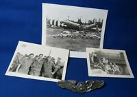 WWII Army Air Forces Air Crew 3 Inch Wings Badge & Crashed Plane Photographs Lot