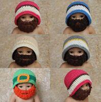 New Handmade Cotton Full Beard Baby Knit Crochet Hat Newborn Photo Prop 0-3Year