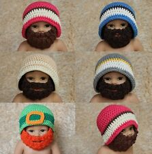 New Handmade Cotton Full Beard Baby Knit Crochet Hat Newborn Photo Prop 0-3Year