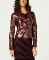 Bar III Jacket Patent Faux Leather Moto Burgundy Sz M NEW NWT