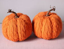 "7"" Fall Pumpkin Decor Halloween Orange Cable Knit Sweater Material - Set of 2"