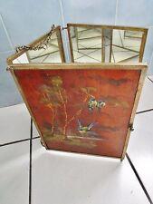 ancienne glace-miroir de voyage-tryptique NIII-bois et bronze-mésanges japonaise