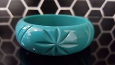 Tiki Carved Bangle 50s Pinup Rockabilly Starburst Star Atomic Seafoam Jade Aqua