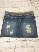 Topshop Women's Skirt Denim Rip Detail Mini Short Cotton Size UK 8 US 4 Petite