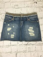 TOPSHOP Blue Washed Distressed Rip Detail Mini Short Denim Skirt Size 8 Petite