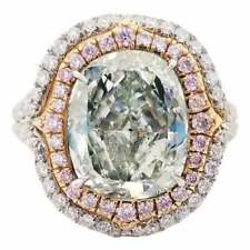 4.62CT Fancy Yellowish Green Cushion Cut Topaz With Pink & White CZ Wedding Ring