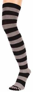 TOETOE Womens Striped Over The Knee Toe Socks - Black/Grey