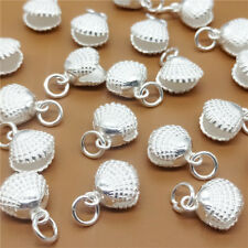 2 Sterling Silver Shiny Open Ocean Sea Shell Charms for Bracelet Necklace