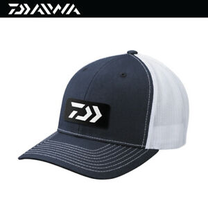Daiwa D-VEC Embroidered Patch Trucker Fishing Cap Hat -Navy/White (3816)