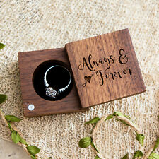 """Small Secret Proposal Engagement Wooden Ring Box - Square """"Always & Forever"""" Box"""