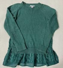 Garnet Hill Sweater L Sea Green Long Sleeve Lace Trim Cotton Blend