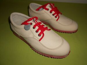 Hogan Women's Shoes Canvas Leather Cream Red Oxford EUR 41 US 10 Italy Sneakers
