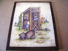 Primitive COUNTRY bear moose Wood Bathroom Outhouse wooden Home Decor Sign